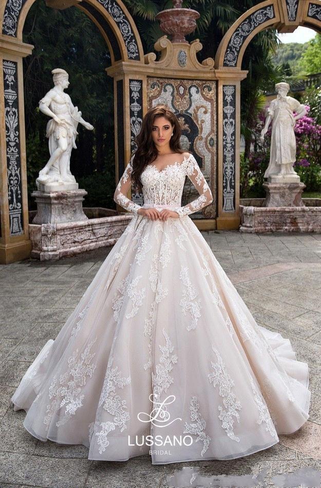 Newest Designed Ball Gown Wedding Dresses 2020 Long Sleeves Formal Lace Appliqued Bridal Gowns Sheer Neckline Button Back Vestido de Novia