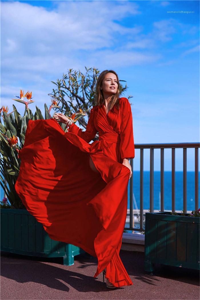 Cuello en V manga larga sólido color de la playa del estilo de Fshion Mujer Estilo Ropa Casual Ropa para mujer del nuevo diseñador vestidos de Bohemia
