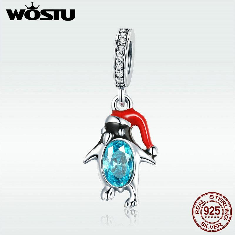 wholesale Hot Sale 925 Sterling Silver Funny Penguin Dangles Charms Fit Bracelet & Necklace Pendant Original Jewelry Gift DXC993