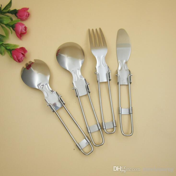 Outdoor Camping Foldable Cutlery Portable Stainless Steel Flatware Set Knife Fork Spoon Spork Dinnerware Set For Travel Picnic Tableware Set