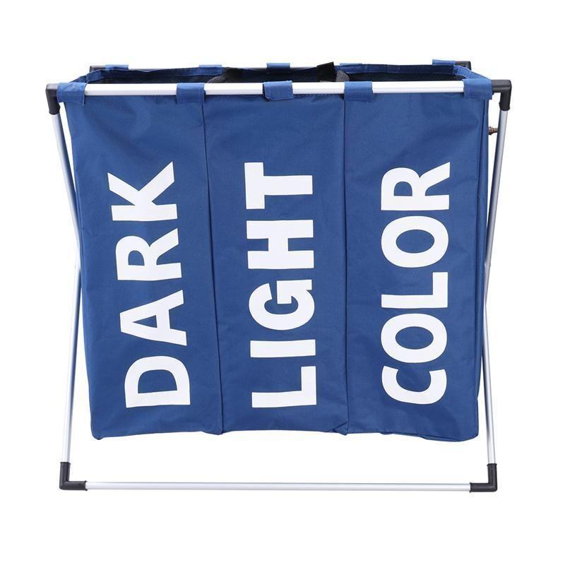 Storage Organization Basket Foldable Hamper Bathroom Laundry Bag Product Triple Compartment C19041701