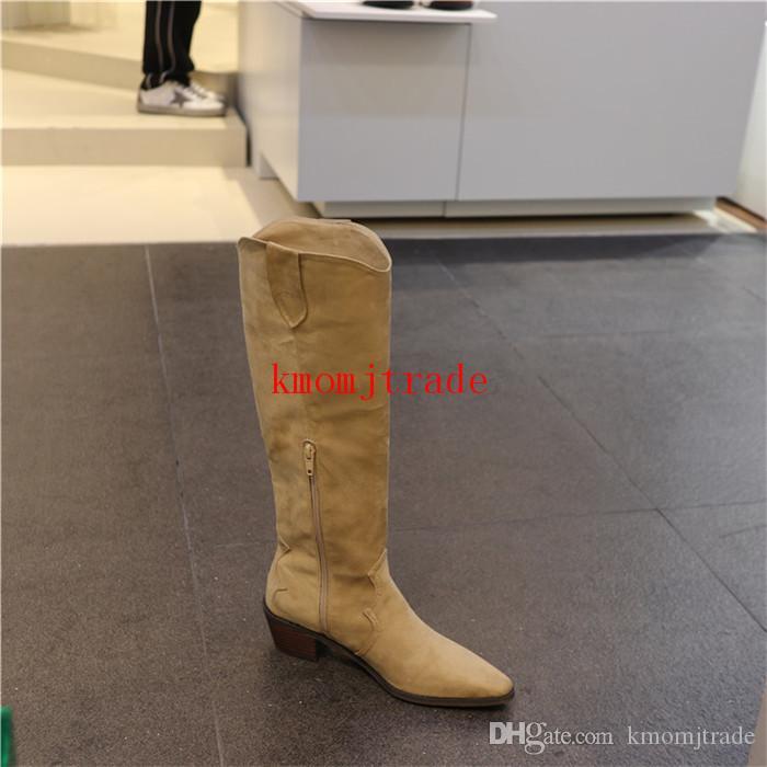 Frauen Street Style Denzy Punkt-Zehe West Stiefel Denzy gestickter Suede kniehohe Stiefel aus Wildleder Cowboy-Schuhe