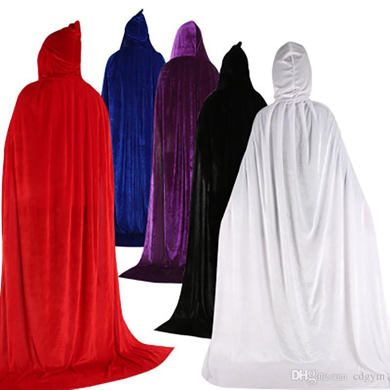 Halloween gothique à capuchon Stain Cape Wicca Robe Sorcière Larp Cap Femmes Hommes Costumes d'Halloween Vampires Party Fancy 8 Couleurs Dropshop
