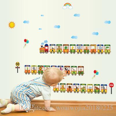 20190621 Criativo Pintura de Fundo de 26 Alfabeto Inglês Pequeno Trem Decoração de Jardim de Infância