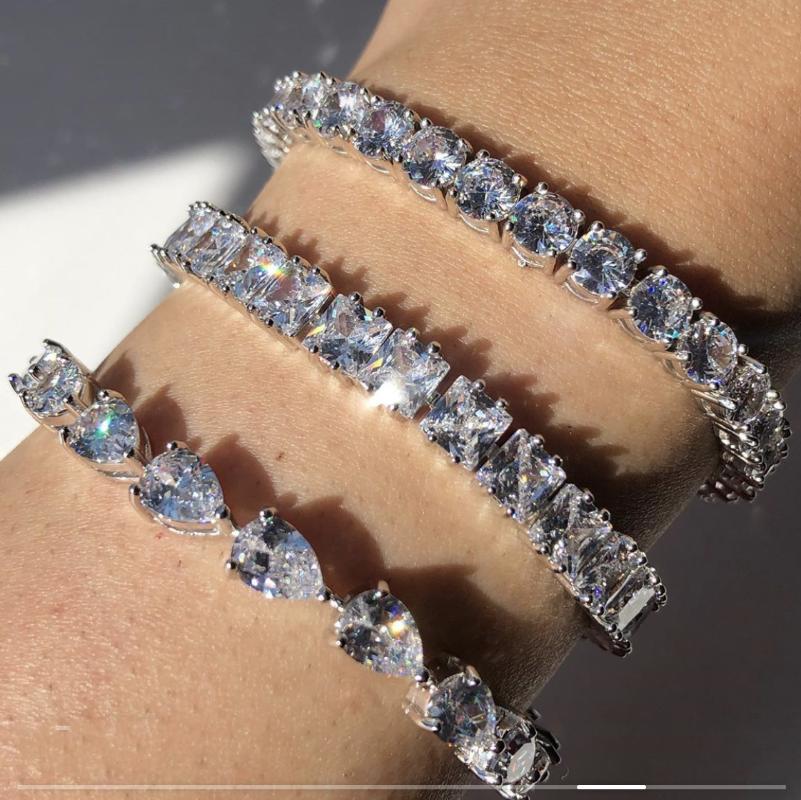 3 أسلوب قطرة جولة مربع المويسانتي الماس أساور للنساء المشاركة الزفاف الأحجار الكريمة والمجوهرات 18CM طويل