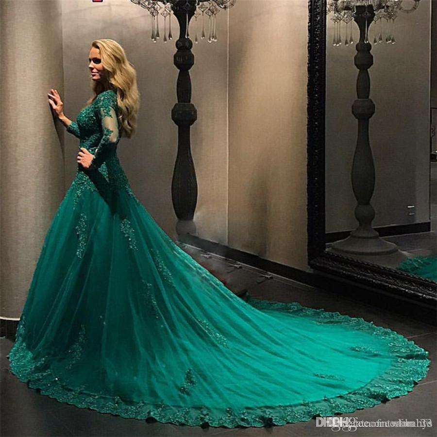 emerald green wedding gown