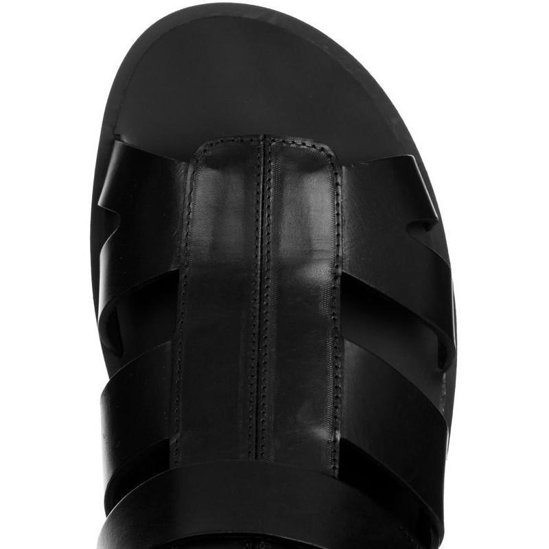 Summer Beach Sandales Hommes Mode High Top Cross bretelles à bout ouvert Sandales Vintage Top qualité réel cuir Flats Gladiator Chaussures