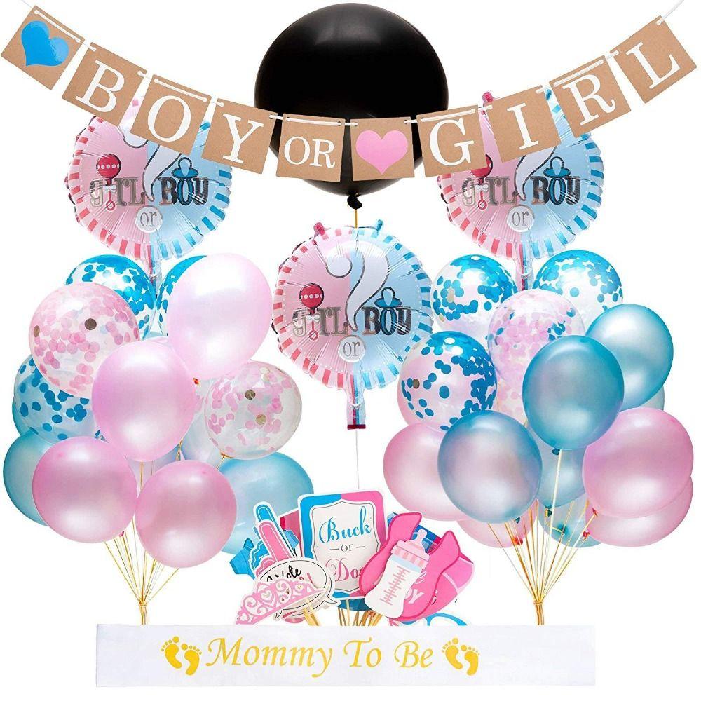 64pcs / lot Genere Reveal Balloon feste 36 pollici Genere Rivela ragazzo o una ragazza Banner Confetti Foil Balloon Baby Shower Set Decoration