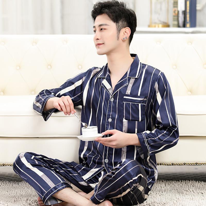 Пижамы мужской весной и осенью тонкий срез льда шелковые пижамы мужчин с длинными рукавами мужские летние шелковые с короткими рукавами пижамы