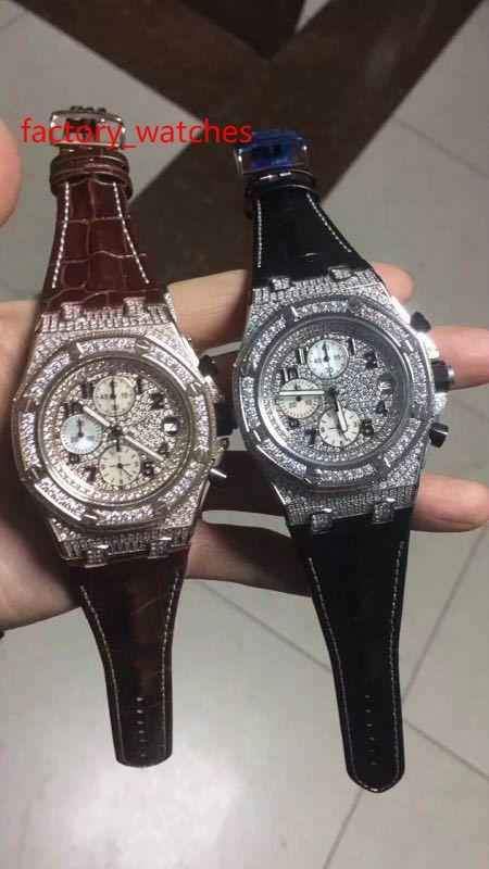 quartz diamants montre or rose et argent affaire 44mm hommes luxe brun bracelet en cuir noir conception de quartz montres entièrement glacées de haute qualité
