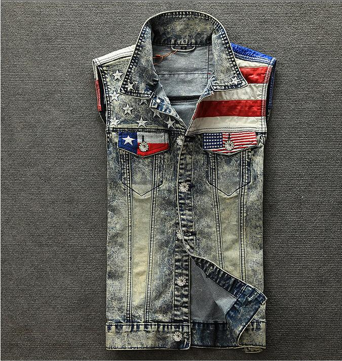 XIU LUO 4XL Mode für Männer Denim-Weste-USA-Flagge stilvolle Weinlese-Patchwork Männliche Persönlichkeit Schlank Blau Punk Cowboy Jacke 2020 neu
