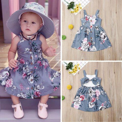 Toddler Kids Baby Girls Denim Straps Sundress Print Piece Dress Clothes Outfits