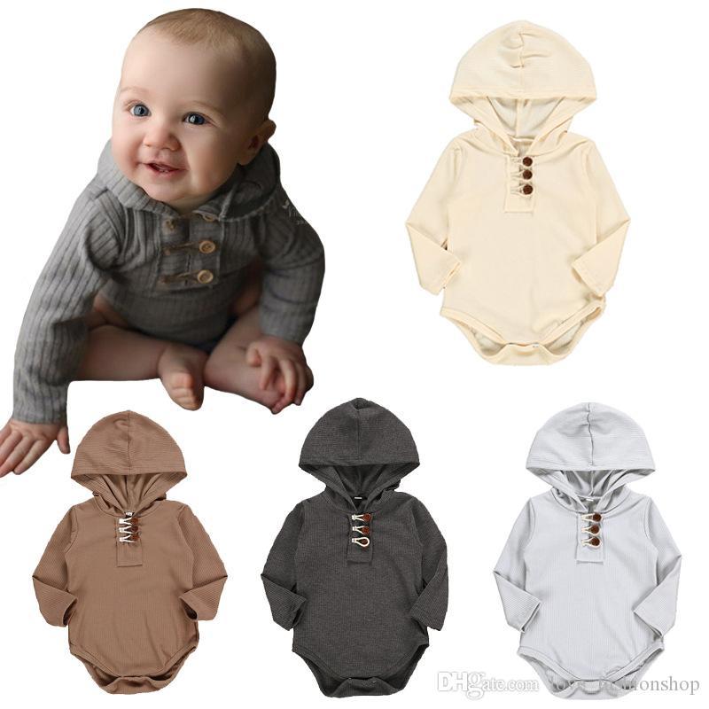 Baby onesies Solid Color Draad Lange Mouw Hooded Driehoek Romper Romper Babykleding Ins Explosie Babykleding