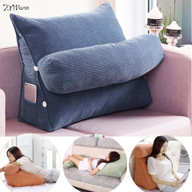 Triangle Sofa Cushion Back Pillow Bed Backrest Office Chair Pillow Support Waist Cushion Lounger TV Reading Lumbar Home Decor