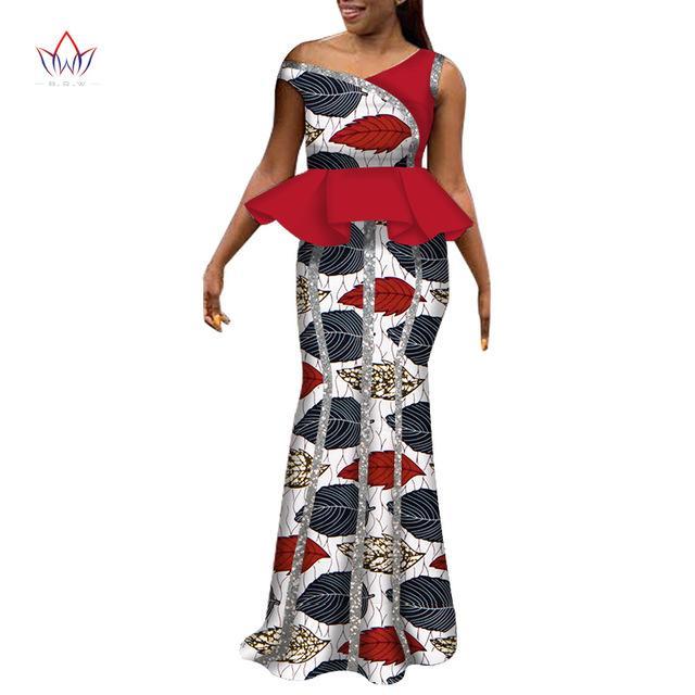 Африканские платья для женщин без рукавов дамы костюм Africaine Dashiki моды нигерийской традиционной одежды плюс размера WY6238