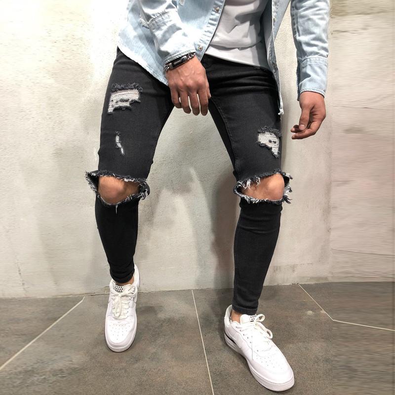 2020 Mens refrescan Negro jeans ajustados pantalones elásticos rasgados destruidos Slim Fit Hip Hop con agujeros para los hombres