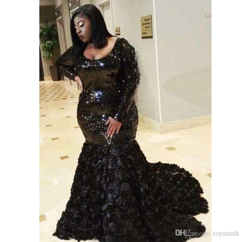Черные блестки русалки вечерние платья совок шеи с ручной работы цветы с длинным рукавом плюс размер выпускных платьев халат де Союре