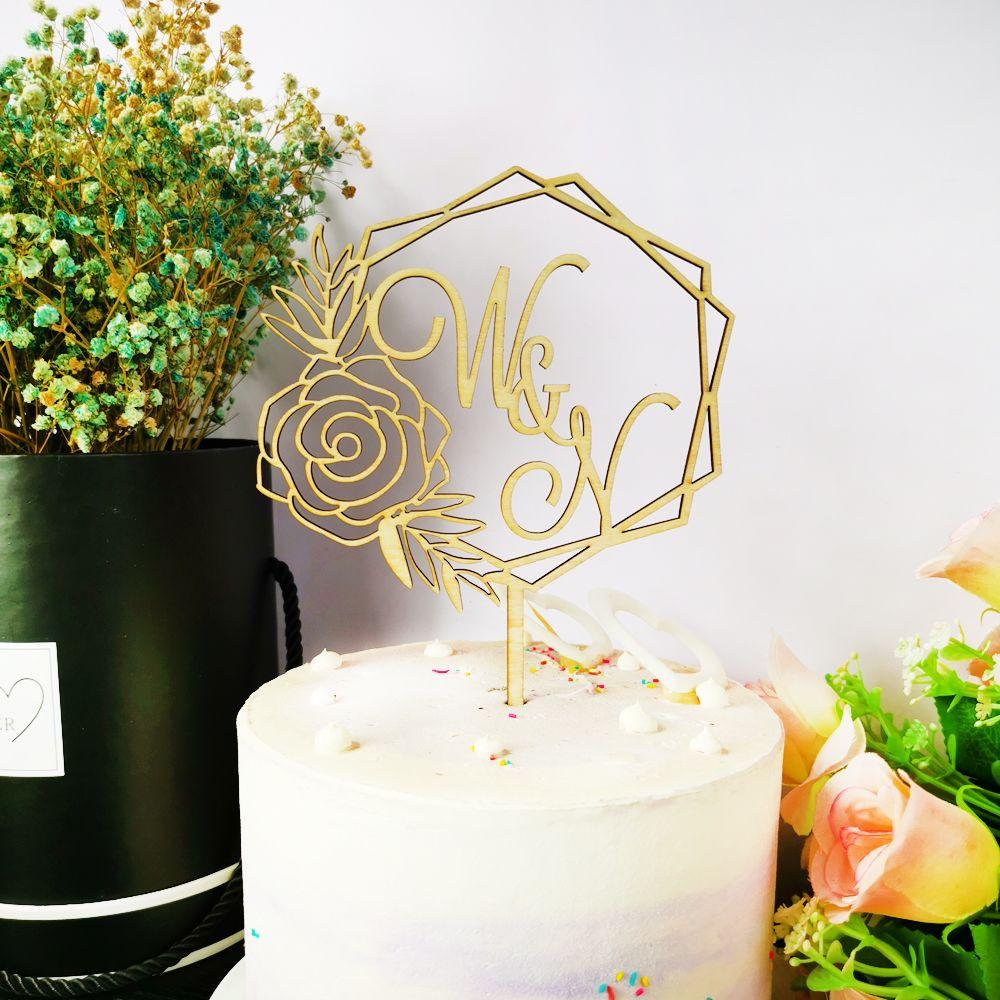 Personnalisé M. Et Mme Initiales De Mariage Cake Topper couple Cake Topper Pour Anniversaire De Mariage Rustique Guirlande Or Miroir Party Decor