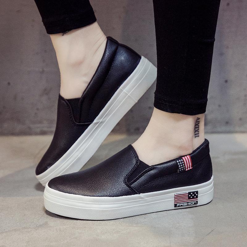 Mode 2020 Herbst weiß PU-Leder Frauen Designer-Schuh weiß dicker Boden Lok Fu faulen Schuh Student