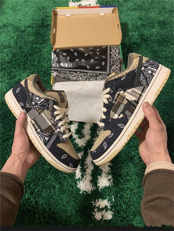 2020 новый лучший аутентичный Трэвис Скотт x SB Dunk Low TS парашют бежево-коричневый коричневый-черный Мужчины Женщины кроссовки спортивные кроссовки с коробкой