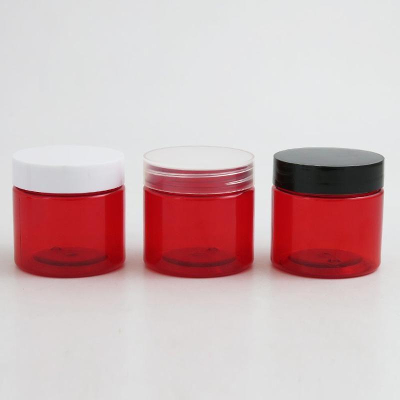 30pcs 2 Oz Runde Leak Proof Red Plastikbehälter Gläser mit Deckel 60g für Spielraum-Speicher-Make-up kosmetische Lotion Scrubs Creme