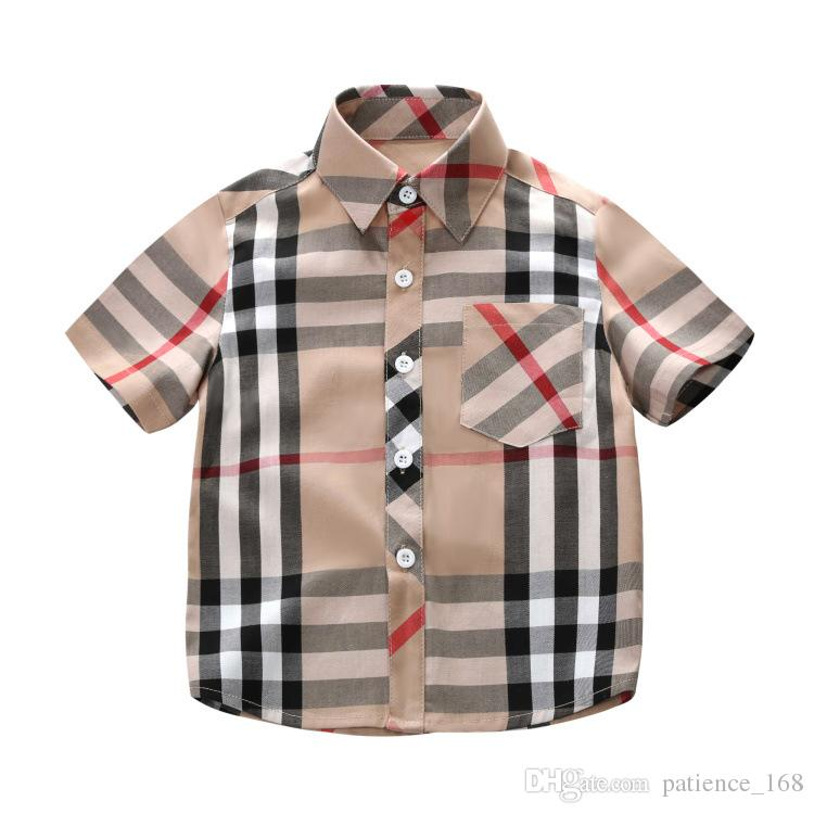 boys shirt 2019 spring summer new styles INS new arrival summer turn-down collar short sleeve high quality cotton boys small plaid shirt