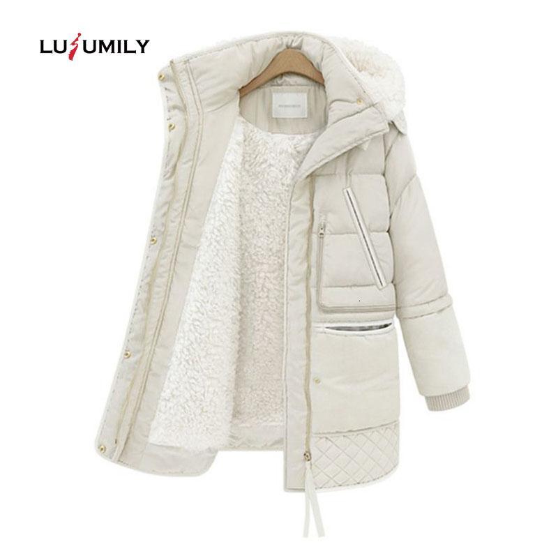 Lusumily 2019 giacche di cotone cappotto delle donne Inverno Primavera lungo riempito Slim con cappuccio parka Donna Outwear Jacket vestiti caldi di lana T191026