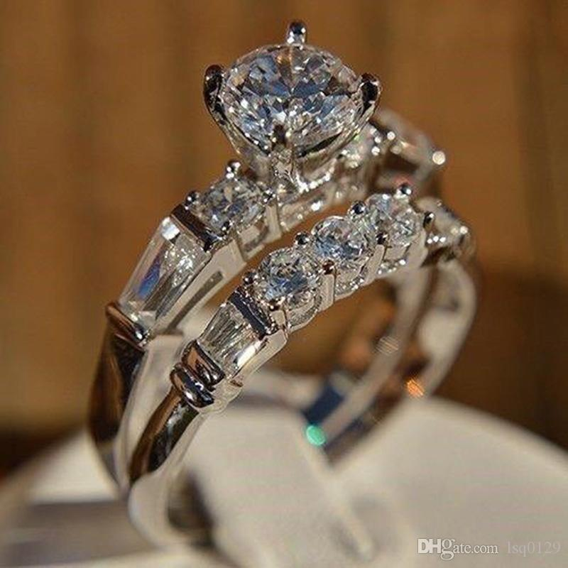 2020 Cute Female Ladies White Wedding Ring Set Vintage Silver