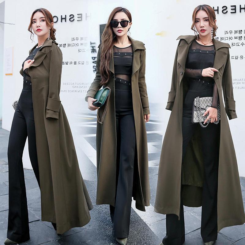 Uzun Trençkot Kadın 2020 İlkbahar Yeni Katı Renk Dikiş Yaka Şık WINDBREAKER Kadın Dış Giyim Mujer Q24 Uzun kollu
