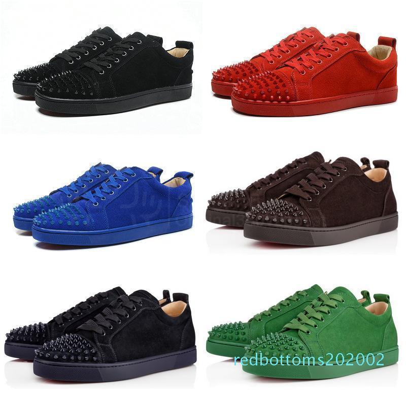 2018 de lujo diseñador de zapatos rojos de las partes inferiores unisex mens mujeres inferiores del rojo de tacón Moda Spikes Spikes Pisos tachonado rojo zapatillas zapatos inferiores R02