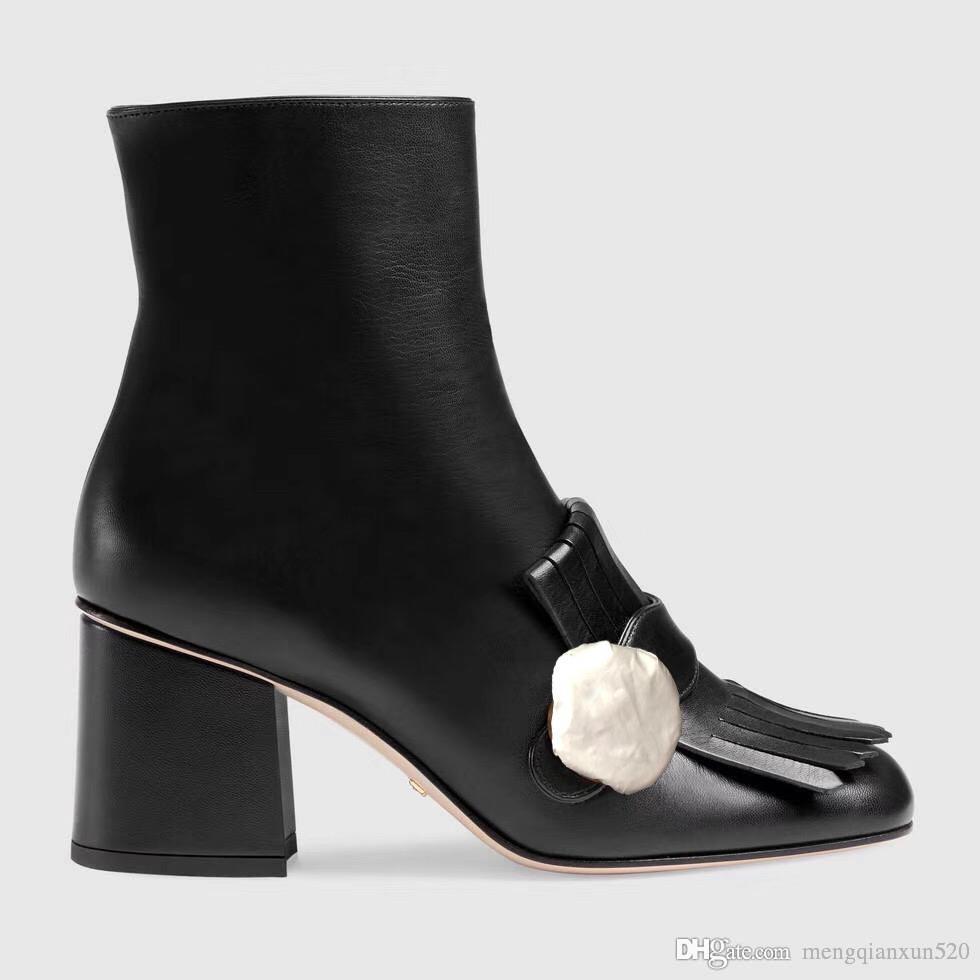 Bottes à talons hauts Designer Soft Cowhide Automne Hiver Hiver Beel grossière Femmes Chaussures 100% véritable Cuir Cuir Zipper Mode Lettre Métal Boucle Boucle Lady Talons 10cm Grande taille 36-41-42