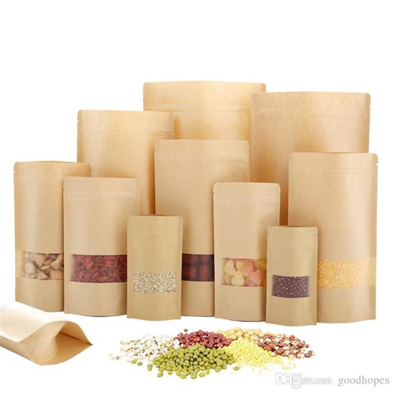 Bolsa de papel kraft levante-se bolsas de alimento com janela transparente sacos reutilizáveis pacote de sacos de alimentos pacote