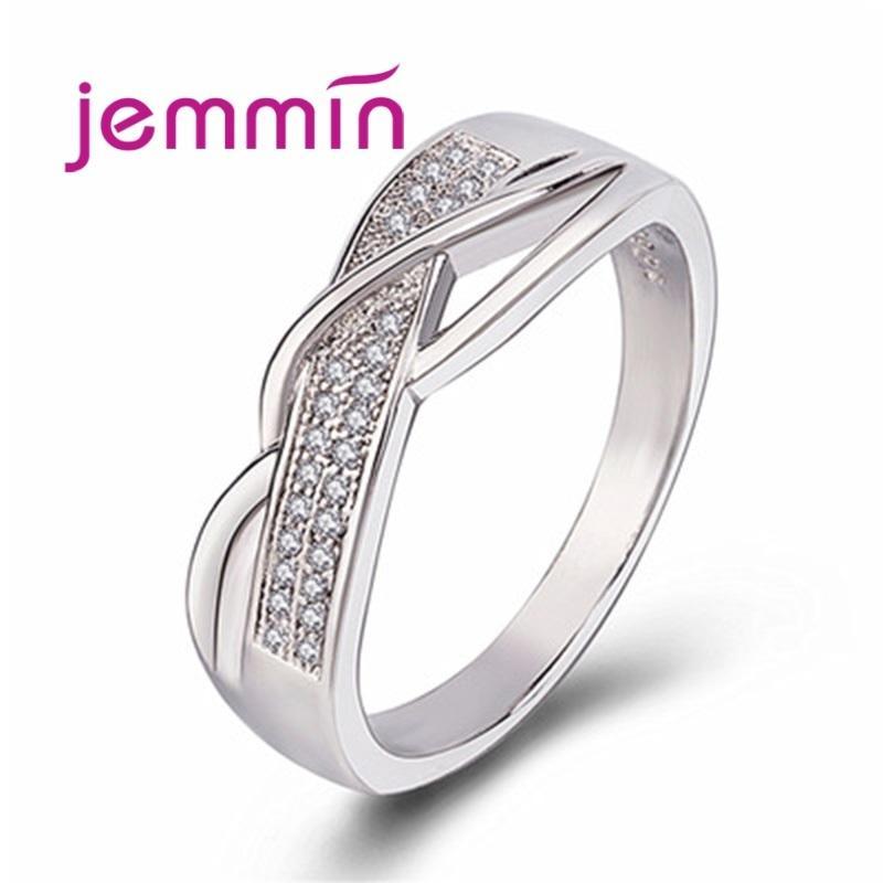 Big Promotion Mode Argent 925 Bijoux en cristal Cubic Bagues de fiançailles Zircon de mariage pour les femmes Bijoux Anillo