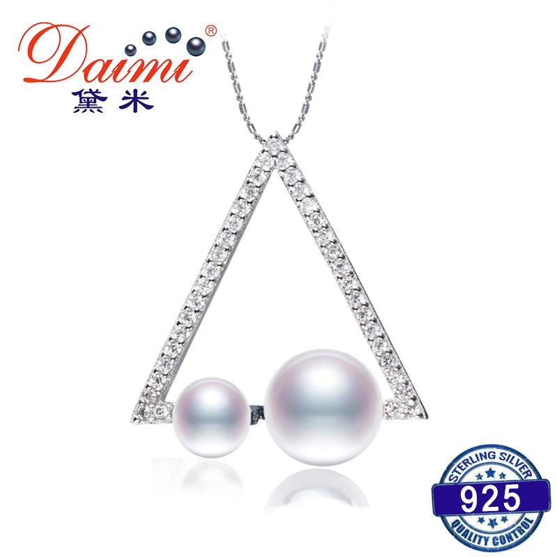 DAIMI New Geometric Pendant 4-7mm Natural White Pearl Pendant Silver Pendant Necklace High Quality Brand Jewelry