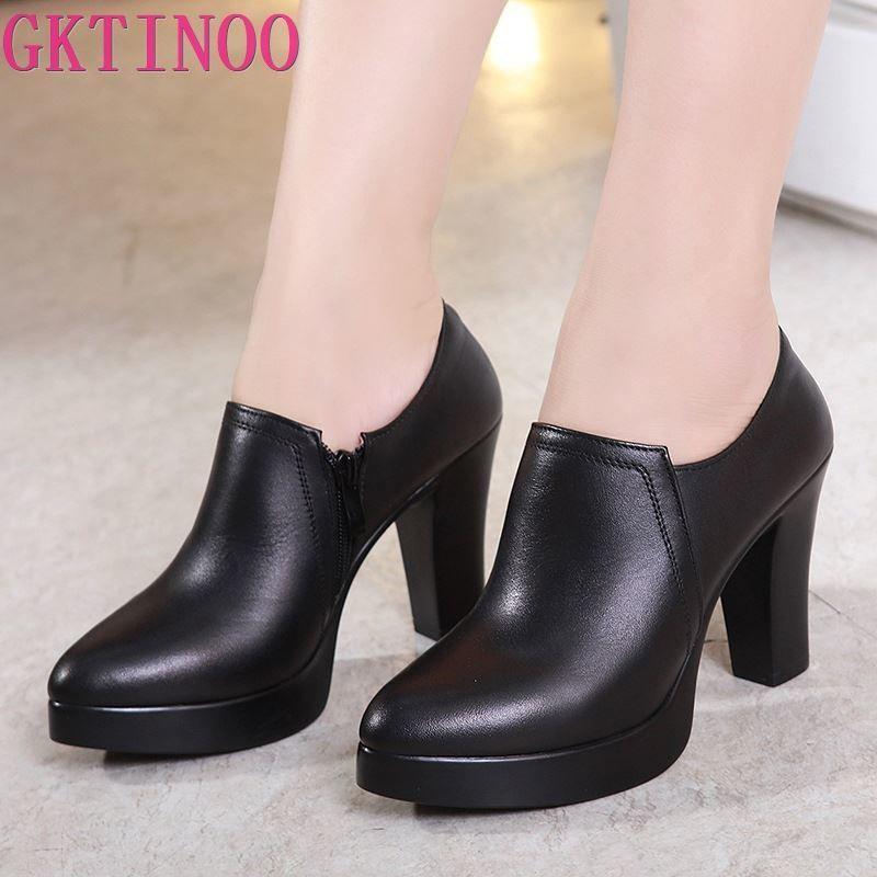 GKTINOO profonde Bouche Chaussures en cuir Pointu Toe femmes Pompes 2020 Automne Noir Escarpin Bureau Chaussures Taille plus 33-43 T200525