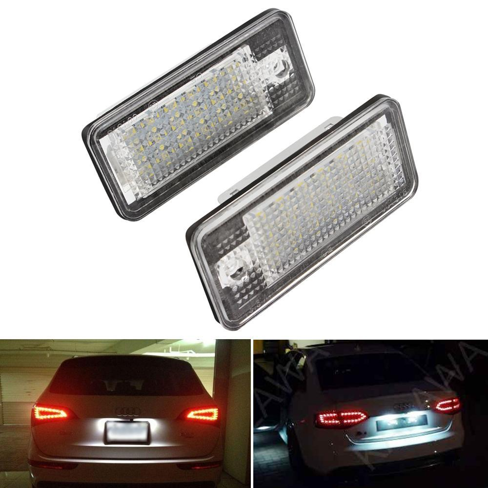 2piece White 6500K 18 LED 3528 SMD License Plate Lights Lamps Bulbs for AUDI A3 8P A6 4F