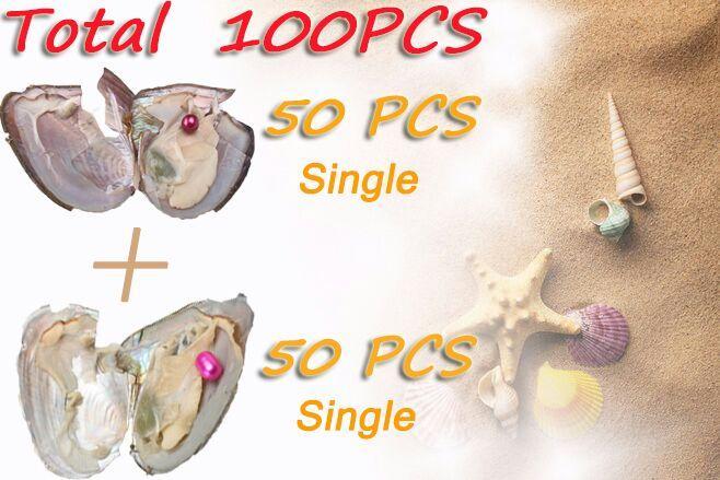 Cuentas 100PCS ostras Conjunto RoundRice una sola perla de agua dulce Shell alto grado color de la mezcla para la diversión del partido