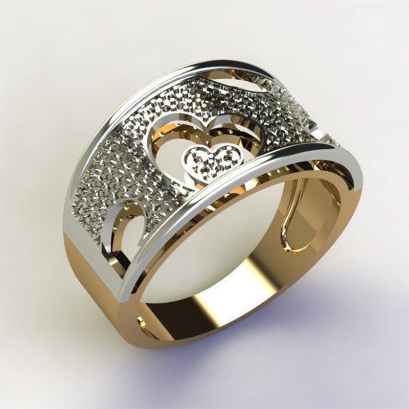 Joyería brillante circón ahueca hacia fuera el anillo del corazón para las mujeres multa exquisita de moda los anillos de bodas de compromiso Mujer