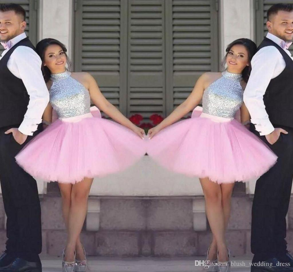 Sparkling Sequined Prom Dresses A Line Short Party Dress Cheap Tutu Skirt Zipper Back Formal Dresses Evening Wear Homecoming Gown DH188