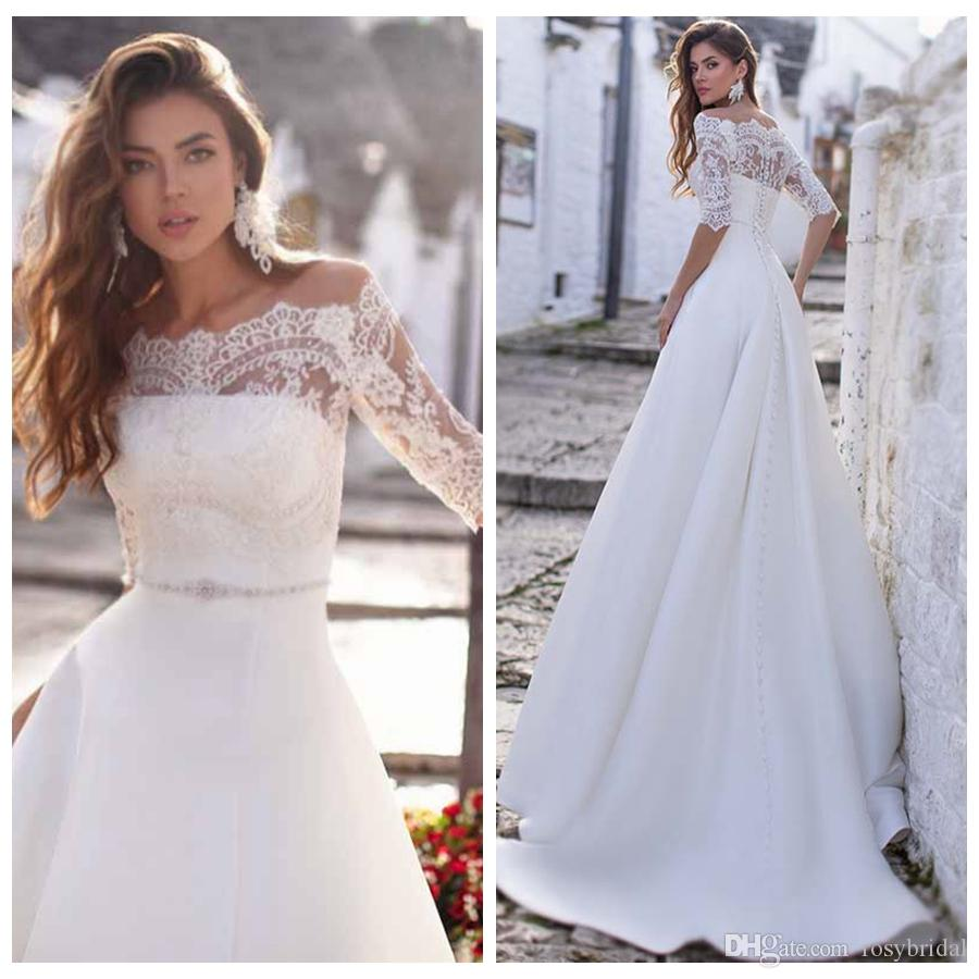 Discount 2019 Off Shoulder Romantic Lace Wedding Dresses With Half Sleeves Two Pieces A Line Beaded Sash Garden Bridal Gowns Satin A Line Wedding Dress Search Wedding Dresses From Rosybridal 118 4 Dhgate Com,Wedding Long Purple Bridesmaid Dresses