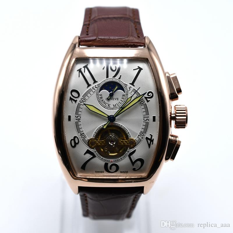 In vendita Geneva cuoio di marca di lusso meccanico automatico del Mens orologi dropshipping tourbillon scheletro uomo in oro orologio da polso