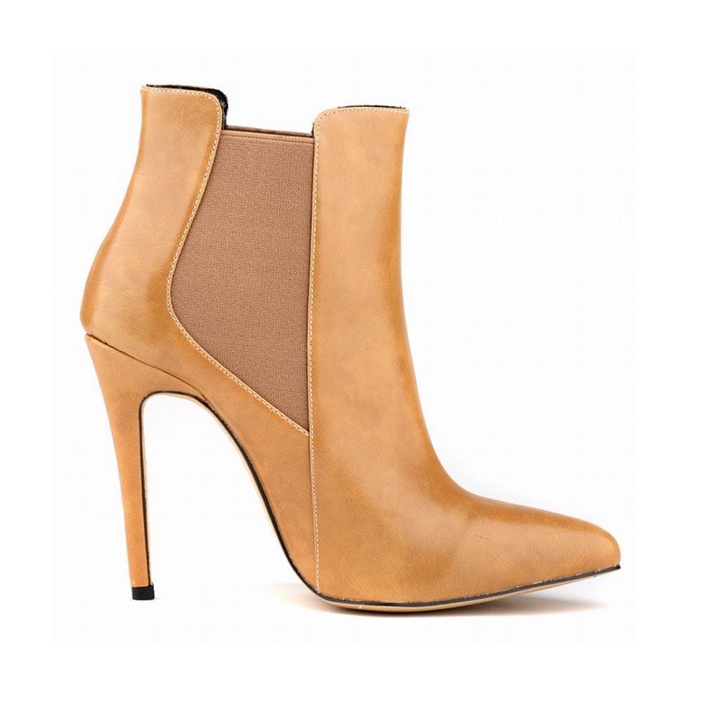 Chaussure Femme seksi sivri suni deri yüksek topuklu platformu ayak bileği botlar moda parti düğün ayakkabıları Birleşik Devletleri 4-11 D0049