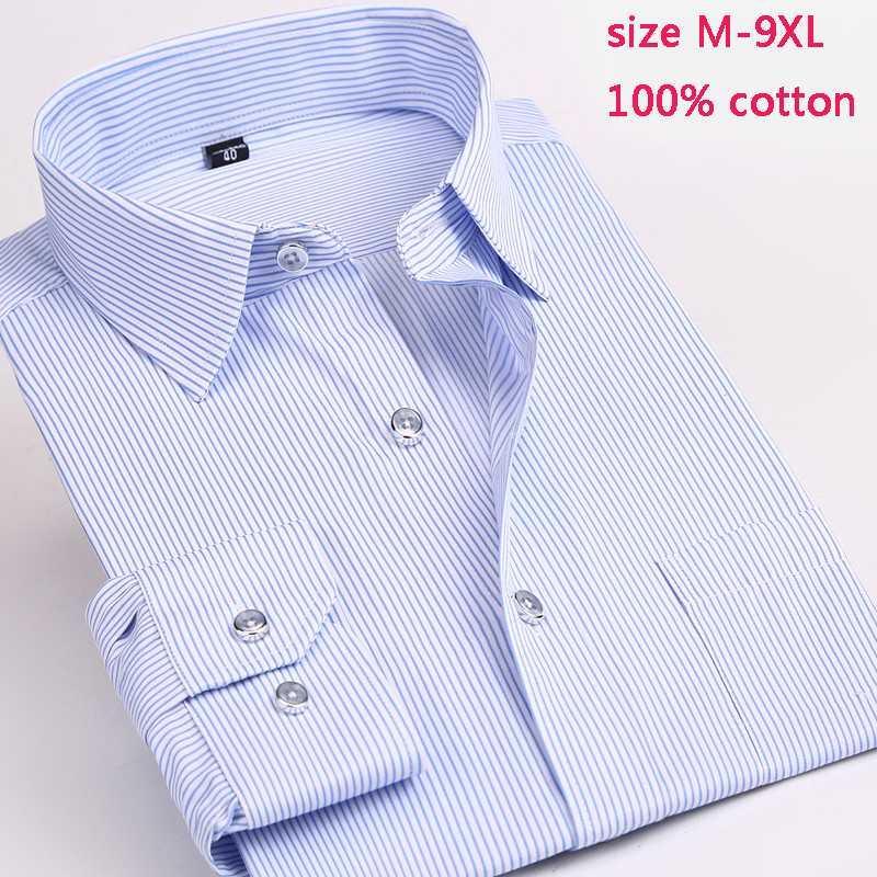 Vestido para hombres Camisas Llegada Moda Alta Calidad Autumn Casual Casual 100% Algodón Hombre Pequeño Manga larga Manguera Máxico M-7XL8XL9XL