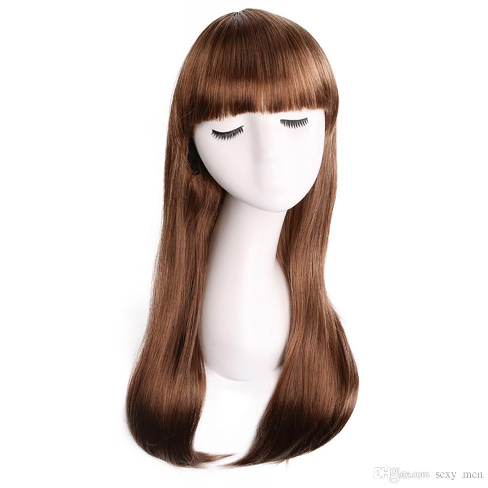 Brun clair chaud style dames de mode tête de poire duveteux longs cheveux bouclés produits chimiques en vrac
