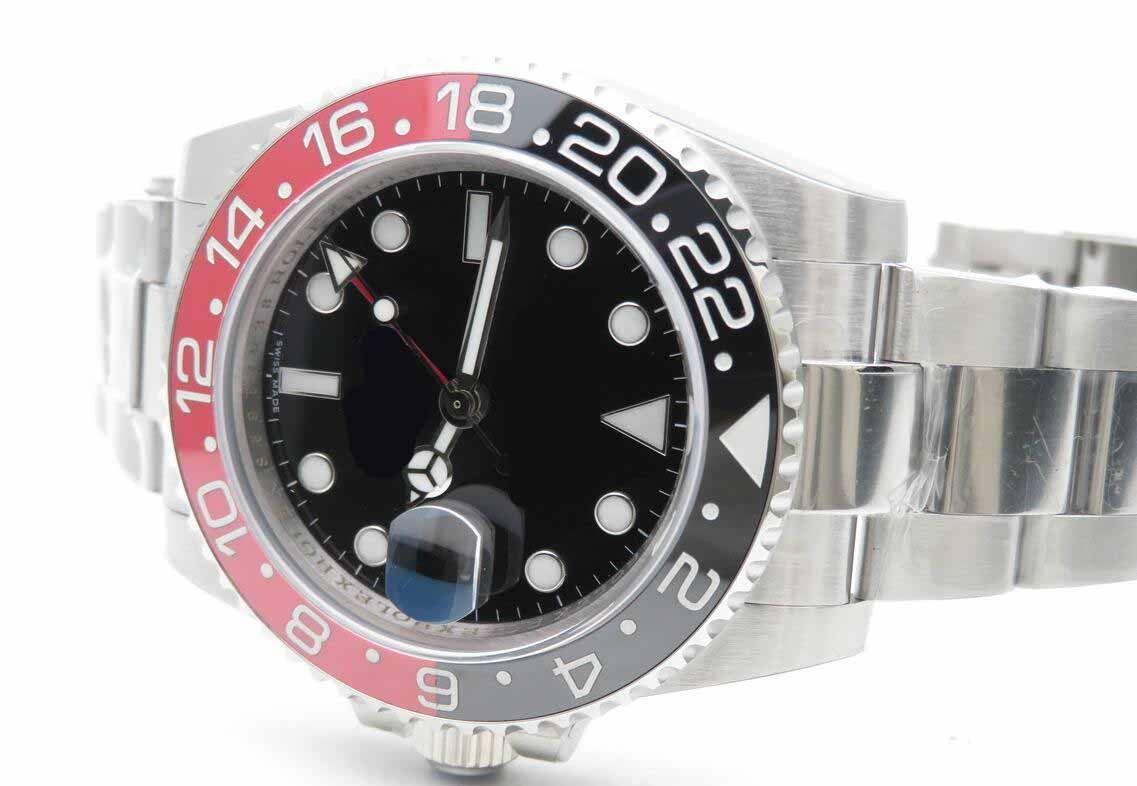 Mens Top Quality Watch BP Factory 40mm GMT 116710 Blu Luminescente Black Red Ceramica in ceramica Asia 2813 Movimento Meccanico Automatic Mens orologi