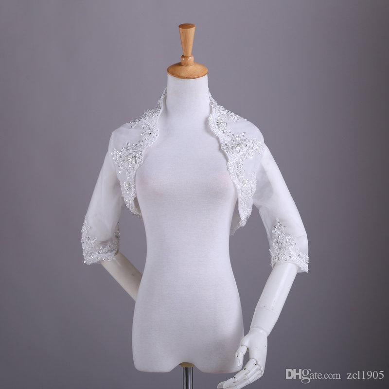 High end customization Real Image New Arrival White Beaded Wrap Jacket Beauty Bridal Dress Wedding Jacket Bridal Accessories