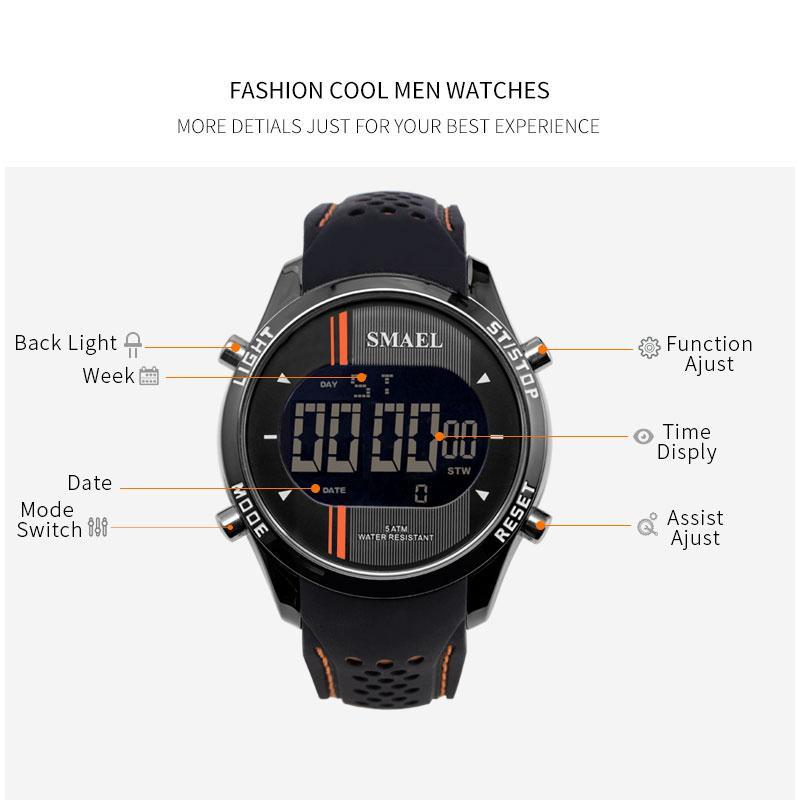 2020 디지털 손목 시계 실리콘 SMAEL 손목 시계 남성 방수 LED 스포츠 스마트 시계는 패션 1283 전자 시계 남자 쿨 러닝