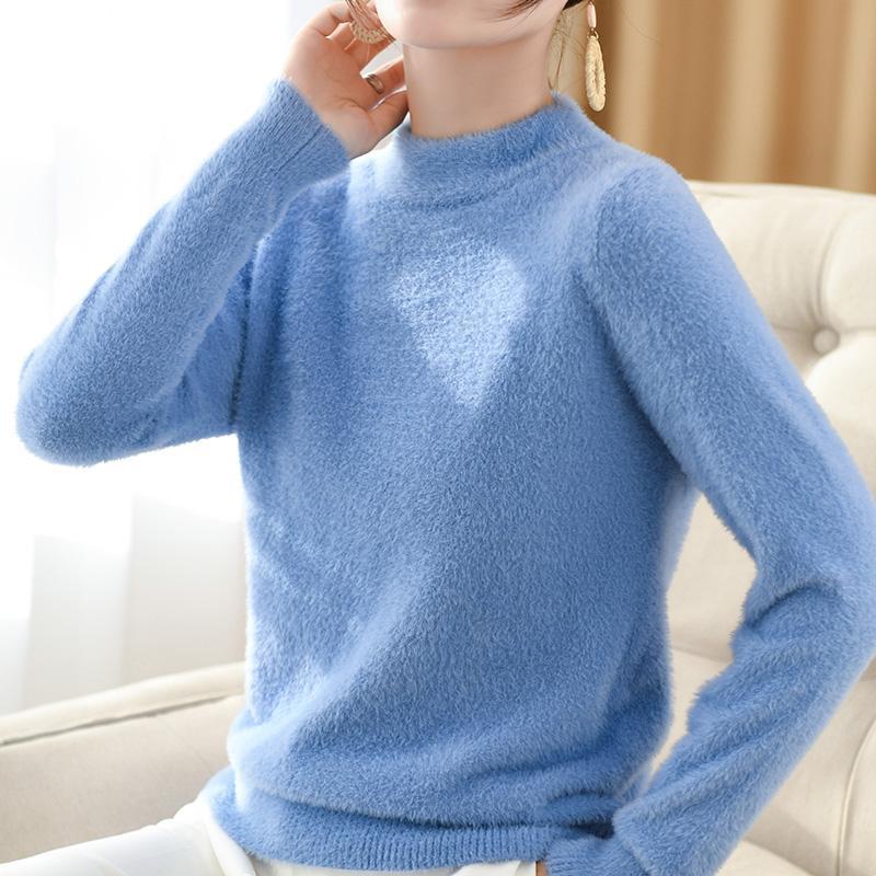 여성용 스웨터 2021 가을과 겨울 의류 절반 높은 라운드 넥 밍크 벨벳 여성 풀오버 느슨한 스웨터