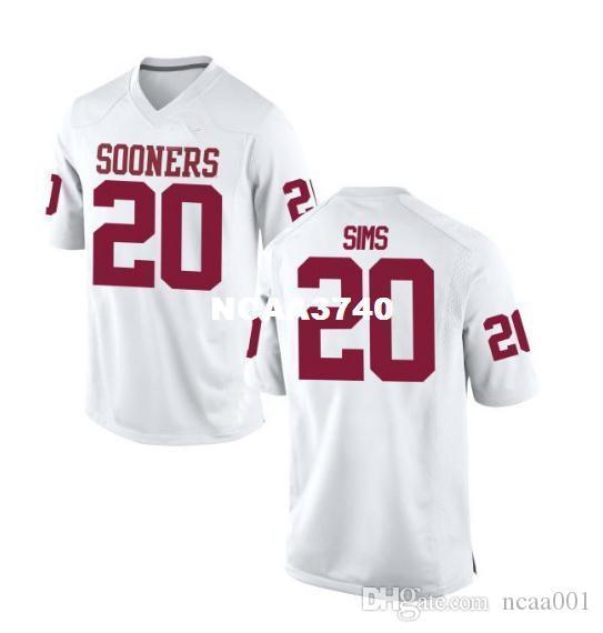 Frauen Oklahoma Sooners Billy Sims # 20 LADIES echten Voll Stickerei College Football Jersey-Größe S-4XL oder benutzerdefinierte beliebige Namen oder Nummer Jersey