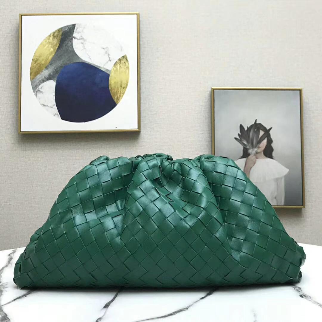 Редко зеленые натуральные кожаные вязание крючком сплетенные IT Облачные сумки Большой сцепления Brand Brand Роскошный элегантный вечернее кошелька высокого качества бесплатная доставка 7Star